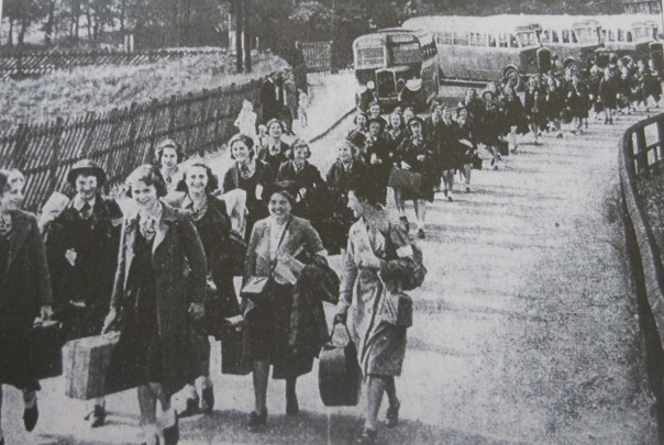 Evacuees arriving in Chinley, Derbyshire in 1939